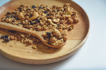 sereal on wooden plate spot focus and close-up view,healthy natural food