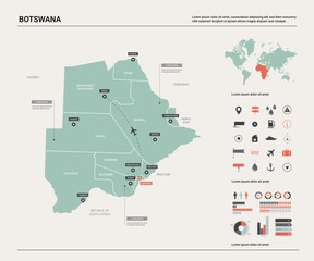 Vector map of Botswana.  High detailed country map with division, cities and capital Gaborone. Political map,  world map, infographic elements.