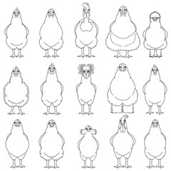 chicken line art set