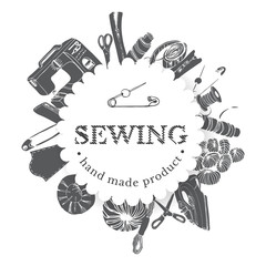 Circle composition with inverted  items for sewing. Hand drawn monochrome sketch of different elements isolated on white background.
