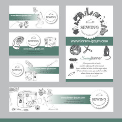 Set of  items for sewing. Hand drawn sketch of different elements on turquoise and white background. Template for banner, visit and business card.
