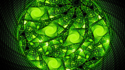 Green glowing circular stained glass fractal abstract background