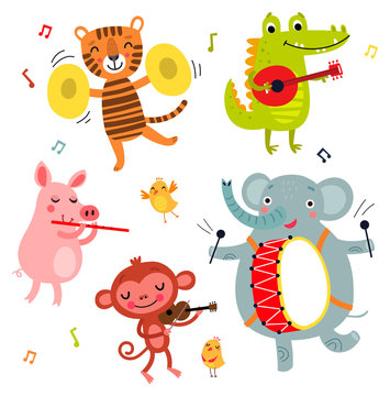 Cute animals play musical instruments