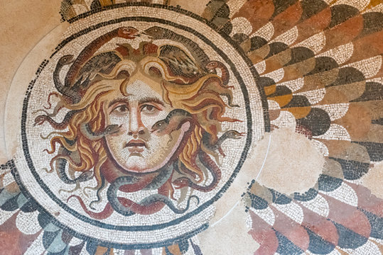 Ancient roman mosaic showing medusa´s head