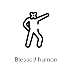 outline blessed human vector icon. isolated black simple line element illustration from feelings concept. editable vector stroke blessed human icon on white background