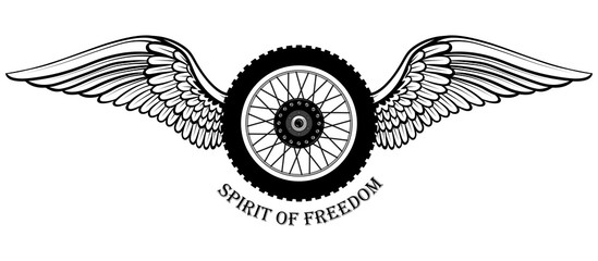 Black and white vector image of a motorcycle wheel with wings. Image on white background.