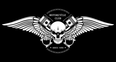 Vector image of a skull with pistons and wings. Black and white image of a motorcycle club emblem. Wall mural