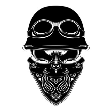 Vector image of a skull in a motorcycle helmet with a bandana on the face. Black and white image on a white background.