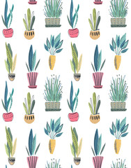 Vector seamless pattern with collection of house plants in pots.