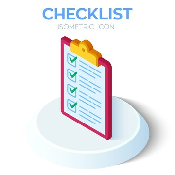 Checklist. 3D Isometric Checklist icon. Created For Mobile, Web, Decor, Print Products, Application. Perfect for web design, banner and presentation. Vector Illustration.