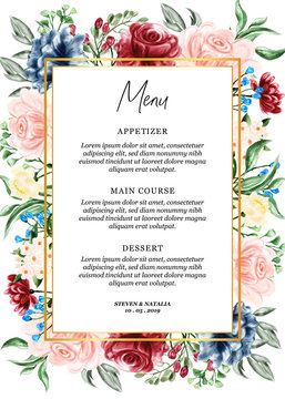watercolor floral frame illustration menu card