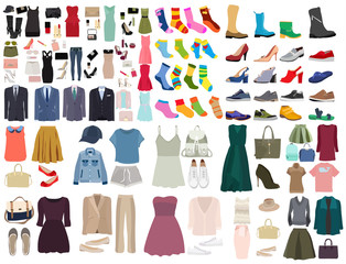 vector, isolated, set of clothes and shoes