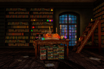 mystic room or alchemist`s study room with candles, books, bottles and alchemical symbols, with zoom in on the book from the enter hall.