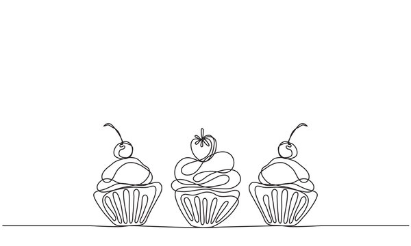 Cupcakes vector background. Linear drawing. Sketch. Continuous line drawing