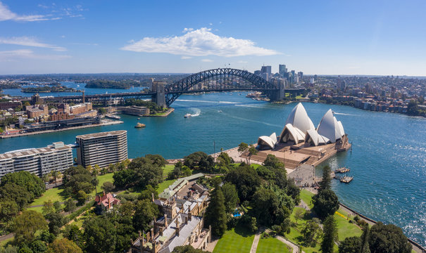Aerial view from the Parade Ground gardens looking towards  the beautiful harbour in Sydney, Australia