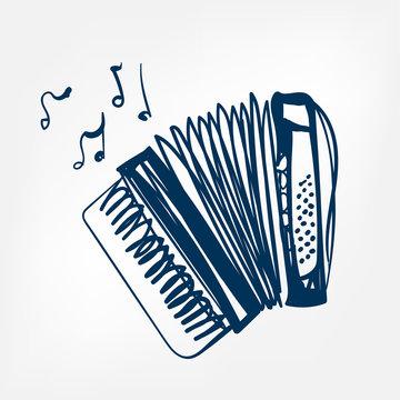 accordion sketch vector illustration isolated design element