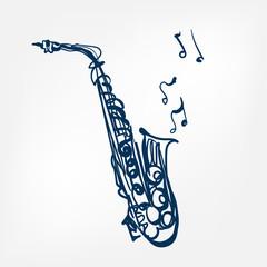 saxophone sketch vector illustration isolated design element