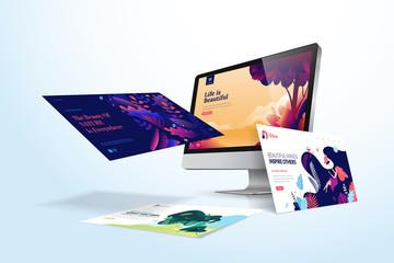 Wall Mural - Web design template. Vector illustration concept of website design and development, app development, seo, business presentation, marketing.