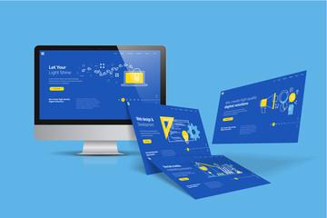 Obraz Web design template. Vector illustration concept of website design and development, app development, seo, business presentation, marketing. - fototapety do salonu