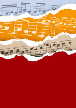 Ripped paper background with music notes. Illustration of several torn  music notes. Useful for music events. Vector available.