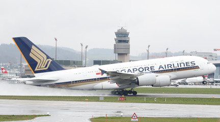 An Airbus A380 aircraft of Singapore Airlines takes off from Zurich airport