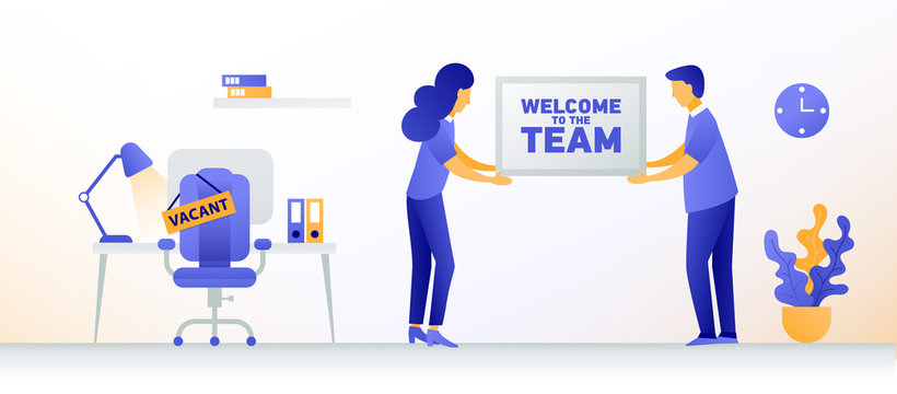 Welcome new employee. Man and woman are hiring new staff. Vacant place in an office. Workplace with a computer in the office.