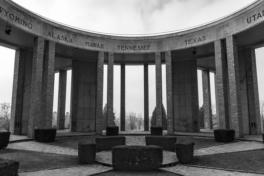 Closeup of American Memorial at Bastogne, Belgium
