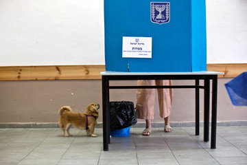 A dog stands next to it's owner as she stands behind a voting booth as Israelis vote in a parliamentary election, at a polling station in Tel Aviv, Israel