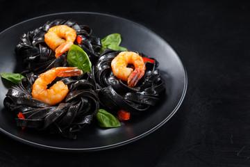 Italian food. Pasta with prawns.
