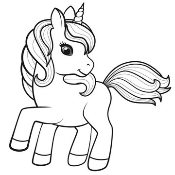 Cute Cartoon Unicorn isolated on white background. Vector illustration for coloring books