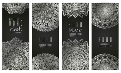 Vector vintage mandala card set.silver color. Oriental design Layout. Islam, Arabic, Indian, ottoman motifs. Front page and back page. Ethnic design.