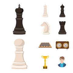 Vector illustration of chess and game symbol. Set of chess and strategy stock symbol for web.