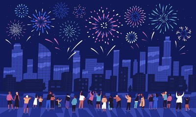 Crowd of people watching fireworks displaying in dark evening sky and celebrating holiday against city buildings. Festival celebration, pyrotechnics show. Flat cartoon colorful vector illustration. Fototapete