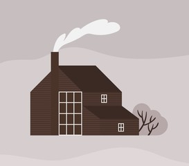 Wall Mural - Facade of town house or cottage in Scandic style. Wooden Scandinavian building with fence. Modern suburban residence or dwelling, farmstead, household or ranch. Monochrome vector illustration.