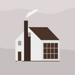 Wall Mural - Two-storey wooden living house or cottage of Scandic architecture. Countryside residential building, homestead, household or ranch. Suburban property or real estate. Flat vector illustration.