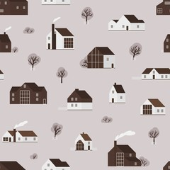 Fototapete - Seamless pattern with wooden living houses or suburban cottages in Scandinavian style. Backdrop with countryside residential building. Flat monochrome vector illustration for wallpaper, fabric print.