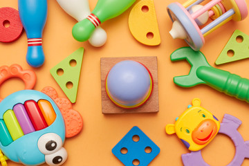 background of children's educational toys. top view close-up. toys for young children. games for the development of the child.