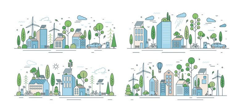 Collection of cityscapes or urban landscapes with eco city using ecologically friendly technologies - wind power, solar energy, electric transport. Modern vector illustration in line art style.