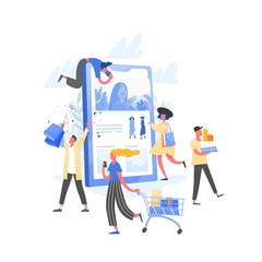 Composition with crowd of crazy customers or shopaholics carrying shopping carts with purchases, bags and boxes and giant tablet PC. Online store or internet shop sale. Flat vector illustration.