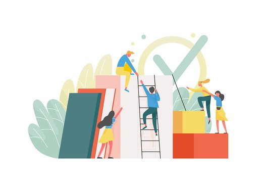 Composition with group of managers, employees or office workers climbing up together and supporting each other. Concept of team building, teamwork, collective work. Flat colorful vector illustration.