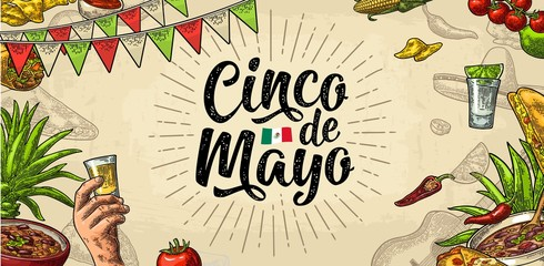 Cinco de Mayo lettering and mexican traditional food. Vector engraving Wall mural