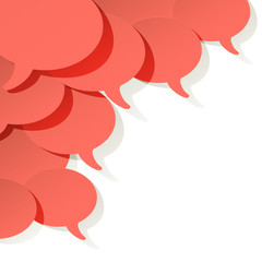 Chat speech bubbles vector ellipse Coral color on a white background in the corner