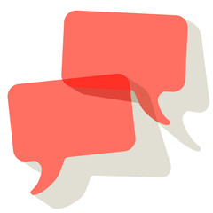 Chat speech bubbles vector Coral color transparent on a white background