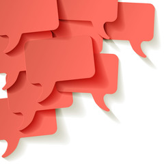 Chat speech bubbles vector Coral color on a white background in the corner
