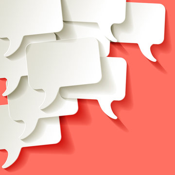 Chat speech bubbles vector white on a Coral color background in the corner