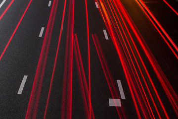 Red taillight stipes on the lanes of the Amsterdam A2 highway