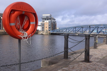 Leith Docks, Edinburgh, lifebouy in foreground