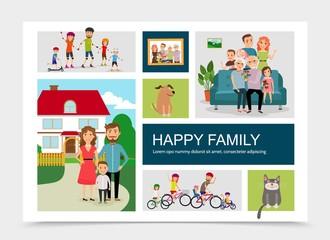 Flat Happy Family Concept