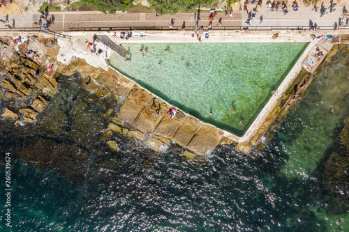 Overhead view of the Fairy Bower public swimming pool at