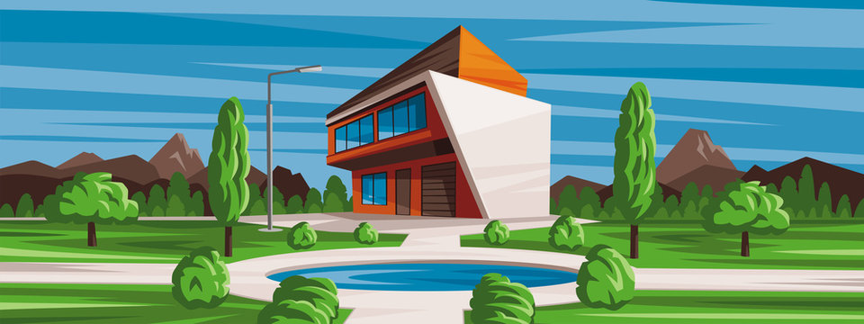 Vector illustration, house landscape with swimming pool. Background of nature, mountains and forests.